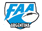 Football Americano Argentina logo. Shield which encompasses a football image on right side, blue and black on white. Stylized FAA above blue field below and ARGENTINA in black outlined white at bottom.