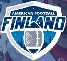 Logo for Finland American Football- blu showing football in shield.