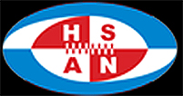Croation Federation of AMerican Football (Hrvatski Savez Americkog Nogometa) logo: HRSAN in red and white checkered football with stitching, inside stylized blue and white football shape.
