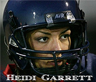 Portrait of Heodi Garrett, wearing MLK High football helmet.