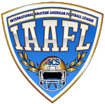 Logo for the International Amateur American Football League, the IAAFL, an Italian 9-man football league. The shield is blue with white trim and lettering, the name at top as well as the initials. A helmet faces forward with the letters AiCS on it.