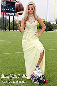 Image of Mary Kate Smith, South Jones High (Mississippi), placekicker and homecoming queen, posing in gowns on field with football.