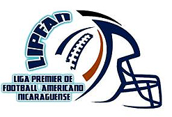 Logo for the Liga Premier de Football Americano Nicaraguense (LIPFAn). The initials form the back of football helmet, with a stylized football image also on helmet; blue on white.