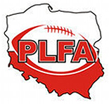 PLFA logo. Red on white, PLFA in block letters inside a stylized football on an outlined map of Poland.