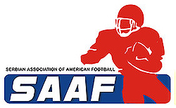 Serbian Association of American Football - SAAF logo. Red image of football player rushing the football, a white SAAF on blue background.