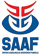 Logo for Srpska Asocijacija Americkog Fudbala - SAAF, including a blue stylized football with double set of stylized helmet facemask, red and blue.