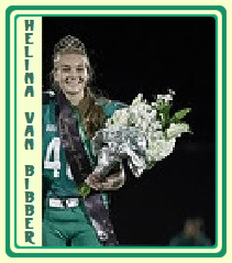Image of Helina Van Bibbee, South Fayette High (Pennsylvania), placekicker and homecoming queen (crowned at earlier game), posing in uniform (#15) wearing crown, on field with helmet and bouquet.