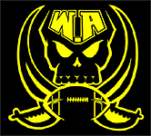 Log for the WA Raiders.Western Australia RAiders. American Football team. Crossed simitars behind a football image below a skull and WA, yellow gold on black.