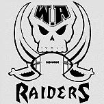 Log of WA Raiders, Western Austraia RAiders American Football team, black on gray, crossed scimitars behind football, under skull, WA on top, RAIDERS below.