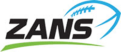 Slovenian American Football Association logo: ZANS in black and stylized blue football.