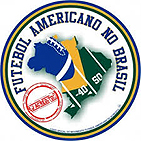 Futbol Americano No Btasil with map of Brazil with yard markings and a footbal.