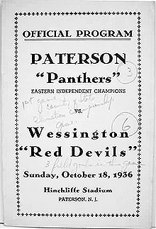 Official Program, Paterson Panthers/Eastern Independent Champions vs. Wessington Red Devils/Sunday, October 18, 1936/Hinchliffe Stadium/Paterson, N.J.