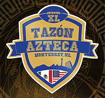 Logo for Tazon Azteca XL/Monterrey NL. With stylized American and Mexican flags and XL inside a football.
