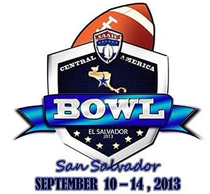 Central America Bowl/El Salvador 2013/San Salvador/September 10-14, 2013. With football at top of shield.