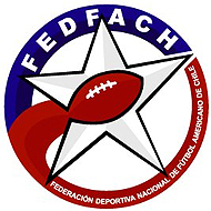 Federation Deportiva Nacional de Futbol Americano de Chile (FEDFACh) logo, football inside star inside outer red and blue circle.