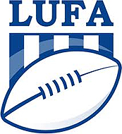 Logo of Liga Uruguaya de Football Americano (LUFA), blue and wite with football pictured.
