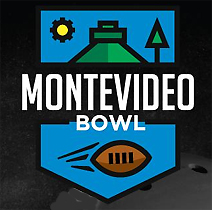 Logo for the Montevideo Bowl with illustrations ofa  football and a pyramid.