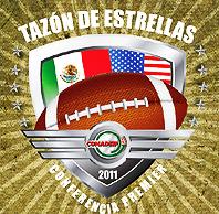 Logo for Taazon de Estrellas 2011/Conference Premier (Mexico) v. USA. flags and football in logo design.