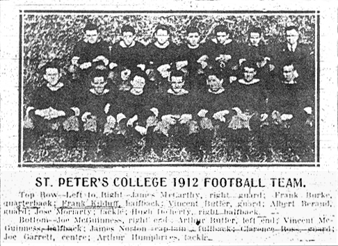 ST. PETER'S COLLEGE 1912 FOOTBALL TEAM picture with roster, from The Jersey Journal, Dec. 6, 1912.