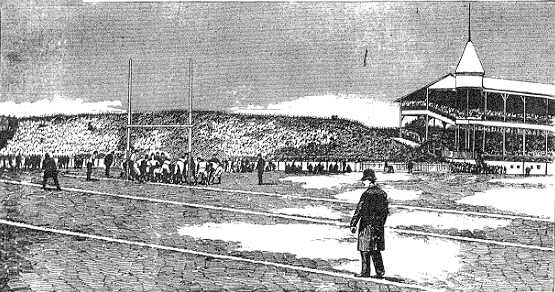 From Frank Leslie's Illustrated Newspaper, December 13, 1890 of a touchdown by Yale versus Princeton 11/27 at Eastern (Brotherhood) Park.