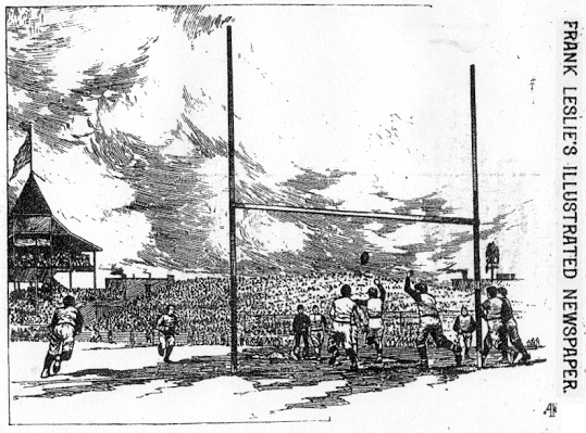 Illustration from Frank Leslie's Illustrated Newspaper, December 13, 1890 of the 11/27 Yale-Princeton football game at Eastern Park (BRotherhood Park), Brooklyn, showing field goal with grandstands  beyond, a flag on the pole atop the withes-cap tower at the end of the grandstand.