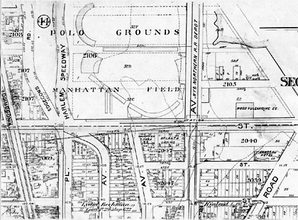Portion of 1898 city survey map showing Manhattan Field and the Polo Grounds.