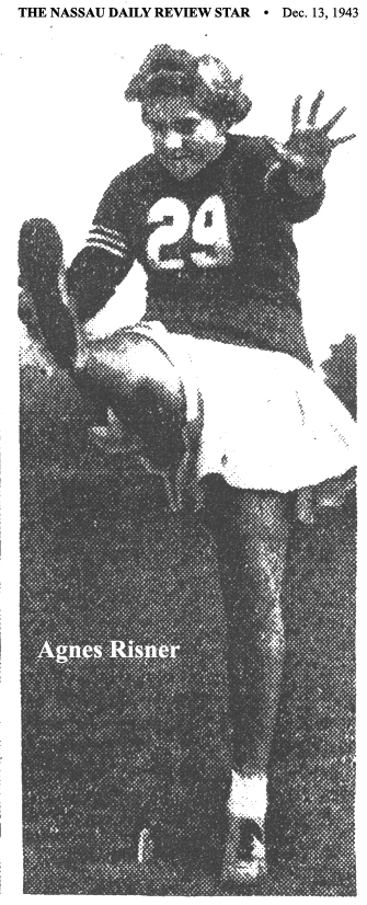 Picture of Agnes Risner, New Castle High (Indiana) football drop-kicker. From The Nassau Daily Review Star, December 13, 1943