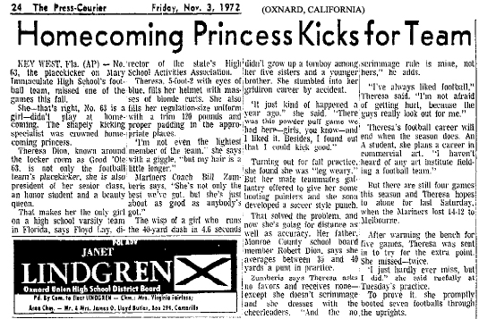 Newspaper article from the Friday, November 3, 1972 The Press Courier (Oxnard, California), titled Homecoming Princess Kicks for Team