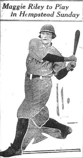 Picture from article from April 4, 1925 edition of The (Nassau) Daily Review, of Maggie Riley, female baseball player, swing for the fences. Here Devil Dogs were to play against the local Hempstead nine.