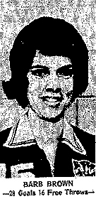 Barb Brown, Columbus Community High School of Columbus Junction basketball player who scored 72 points in a basketball game, December 17, 1965.