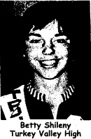 Picture of Betty Shileny of Turkey Valley High basketball team in Iowa, who scored 51 points at Jesup High in a 78-44 win on January 25, 1974.