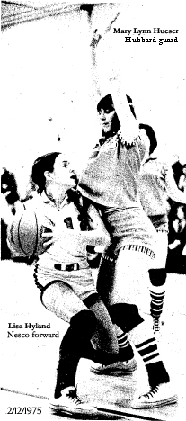 Hubbard's Mary Lynn Hieser guarding Nesco's Lisa Hyland in an Iowa girls' 6-on-6, two court basletball game on February 12, 1975.