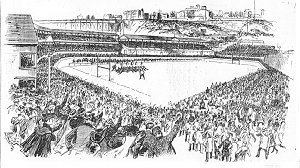 New York Herald, 12/1/1893, picture of Princeton-Yale game at Manhattan Field, New York on Thansgivings Day.