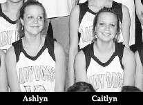 Ashlyn and Caitlyn Baggett, cropped from team picture of the Iota High school Lady Bulldogs, girls' basketball team from Louisiana.
