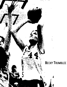 Starmont High Lady Star forward Becky Trumblee, number 44, scoring 2 of her 23 points against the Springville Orioles, December 4, 1979, a 61 to 58 loss. From the Oelwein (Ia.) Daily Register, December 5, 1979, photo by Rick Fromm.
