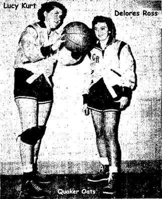 The Cedar rapids Gazette, Cedar Raapids, Iowa, Sunday, January 8, 1950. IN ACTION TONIGHT---These two Quaker Oats girls---Lucy Kurt (left) and Delores Roth---will be in action tonight at the Quaker Oats gym. The Quaker girls play the Hilldale Dairy team of Dubuque at 7:30 tonight, followed by a game between the Quaker boys and the Dubuque Knights of Columbus. The famous AIC Stenos of Davenport play at Quaker Wednesday night.