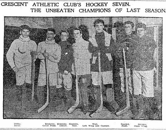 [picture] Crescent Athletic Club's Hockey Seven. The Unbeaten Champions of Last Season. (1900). Dobby, Rover; Drukeley, Cover Point; Kennedy, Center; Goodwin, Goal; Wall, Left Wing and Captain; Randall, POint; Shichler, Right Wing. From Brooklyn Daily Eagle, January 5, 1901.