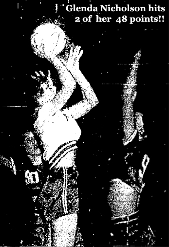 Composite photo showing Glenda Nicholson of Maynard High School Blue Devils shooting over an unidentified Garrison High Rocket player on December 27, 1955 when she scored 48 points in an 84-65 win. From The Oelwein Daily Register, Oelwein, Iowa, December 28, 1955.