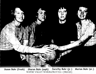 The Buhr Sisters, freshman Susan, sophomore Sharon, junior Dorothy and senior Marian, posing with a basketball, February 1965, Wapsie Valley High School Warriorettes Iowa 6-on-6 basketball players.