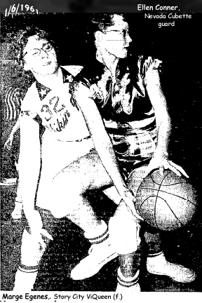Story City High School ViQueen forward, Marge Egenes, #32 on the left, tries to get the basketball away from Nevada High Cubette guard Ellen Conner, on January 6th, 1961, at Story City. Final score: Story City 50 - Nevada High 48. From the Ames Daily Tribune, Ames, Iowa, January 7, 1961. (Tribune photo)
