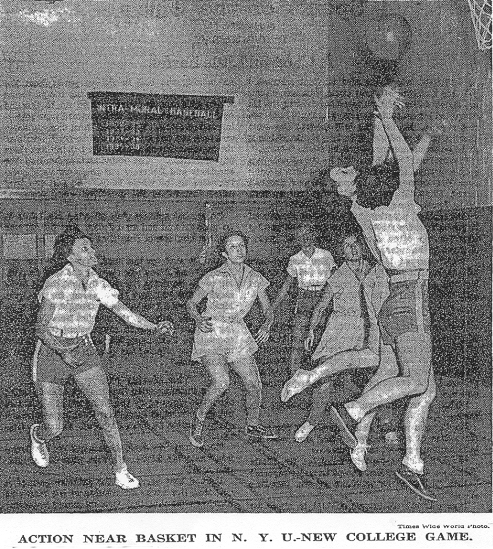 New York Times, February 8, 1936 photo: Action Near Basket in N.Y.U.-New College Game.