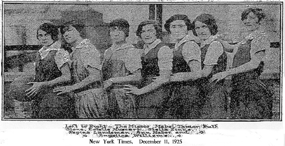Picture from NY Times, December 11, 1925, of N.Y.U. varsity women's basketball team. Left to right-- The Misses Mabel Tamor (captain), Ruth Stone, Estelle Mussert, Stella Zinns, Regina Landsman, Ann Haber and Angelica Williams.