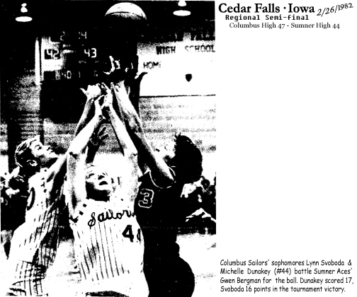 Columbus High School Sailors girls 6-on-6 basketball team's sophomore forwards, Lynn Svoboda (on left) and Michelle Dunakey, number 44, are pictured jumping for a ball against Sumner High's gwen Bergman, in a regional tournament semi-final game on February 26, 1982, at Cedar Falls. Dunakey would score 17 points and Svoboda 16 in the Columbus Sailors 47 to 44 victory. From the Waterloo Courier, Waterloo, Iowa, 2/28/1982 issue. Photo credit: Mitchell Hrdlivka.