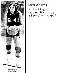 Basketball player, Terri Adams, Gilbert High forward, after scoring 53 points on December 7th, 1971 at Nesco High in a 95-90 win..